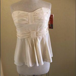 Nanette Lepore sexy bustier strapless blouse cream